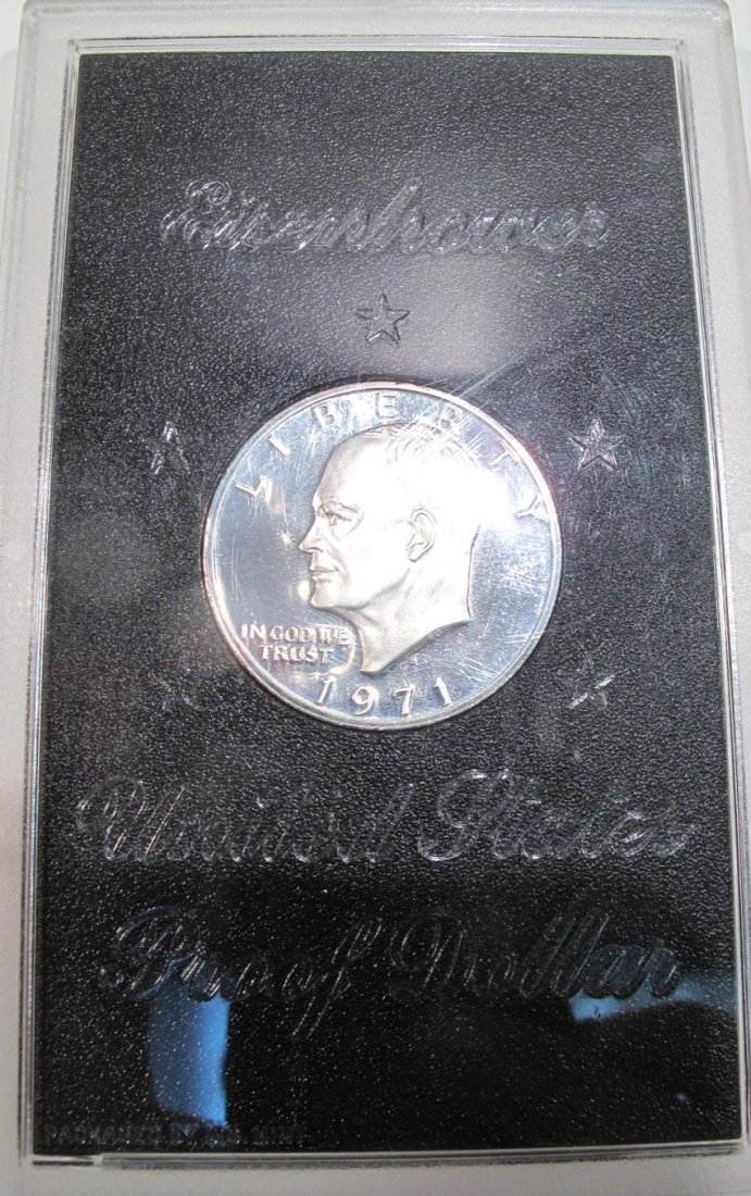 1971 EISENHOWER PROOF DOLLAR, 1970 PROOF SET AND A 2008 - 2