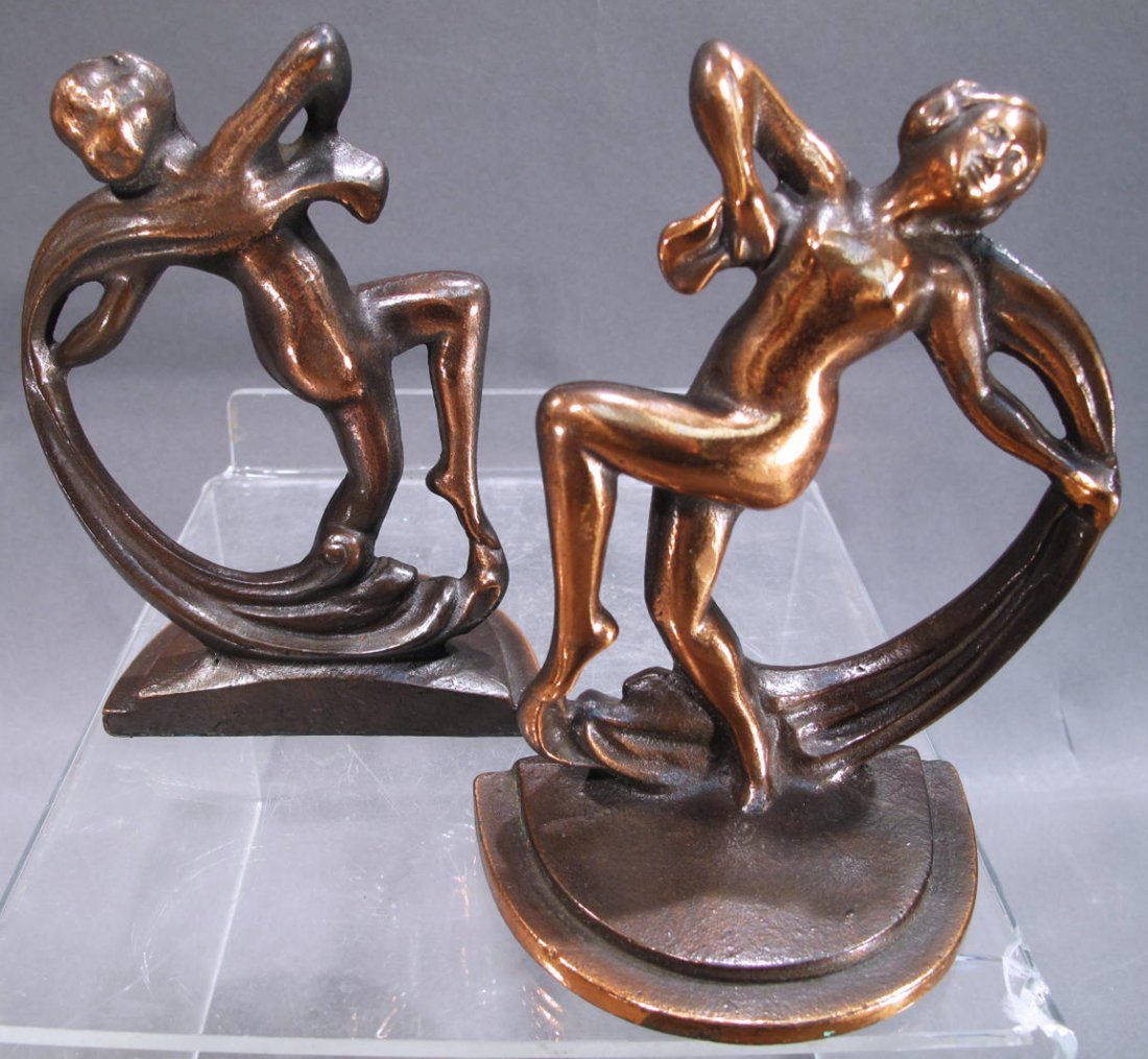 PAIR OF ART DECO NUDE FEMALE BOOKENDS.