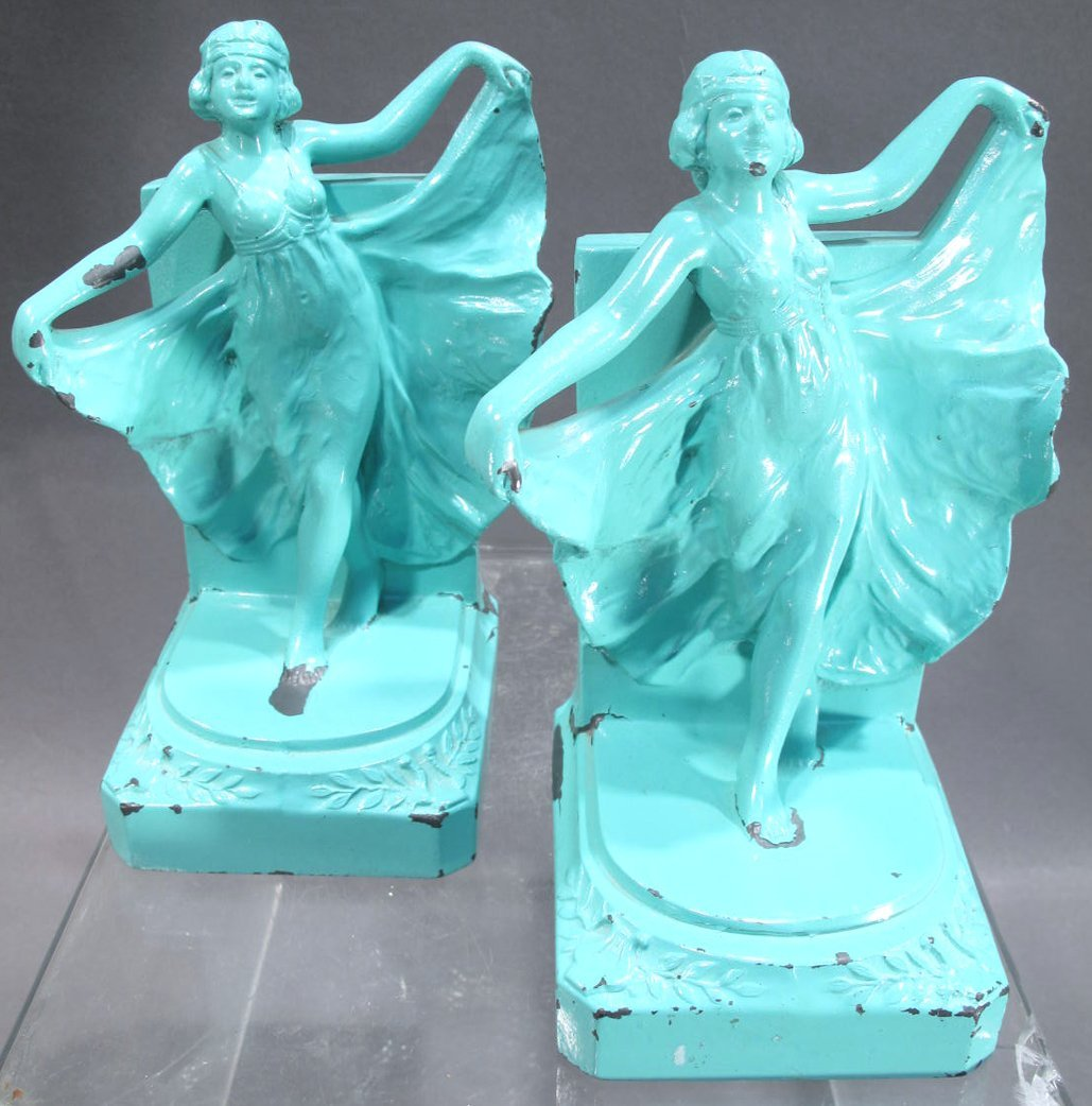 PAIR OF TURQUOISE ART DECO FEMALE BOOKENDS.  (Note: