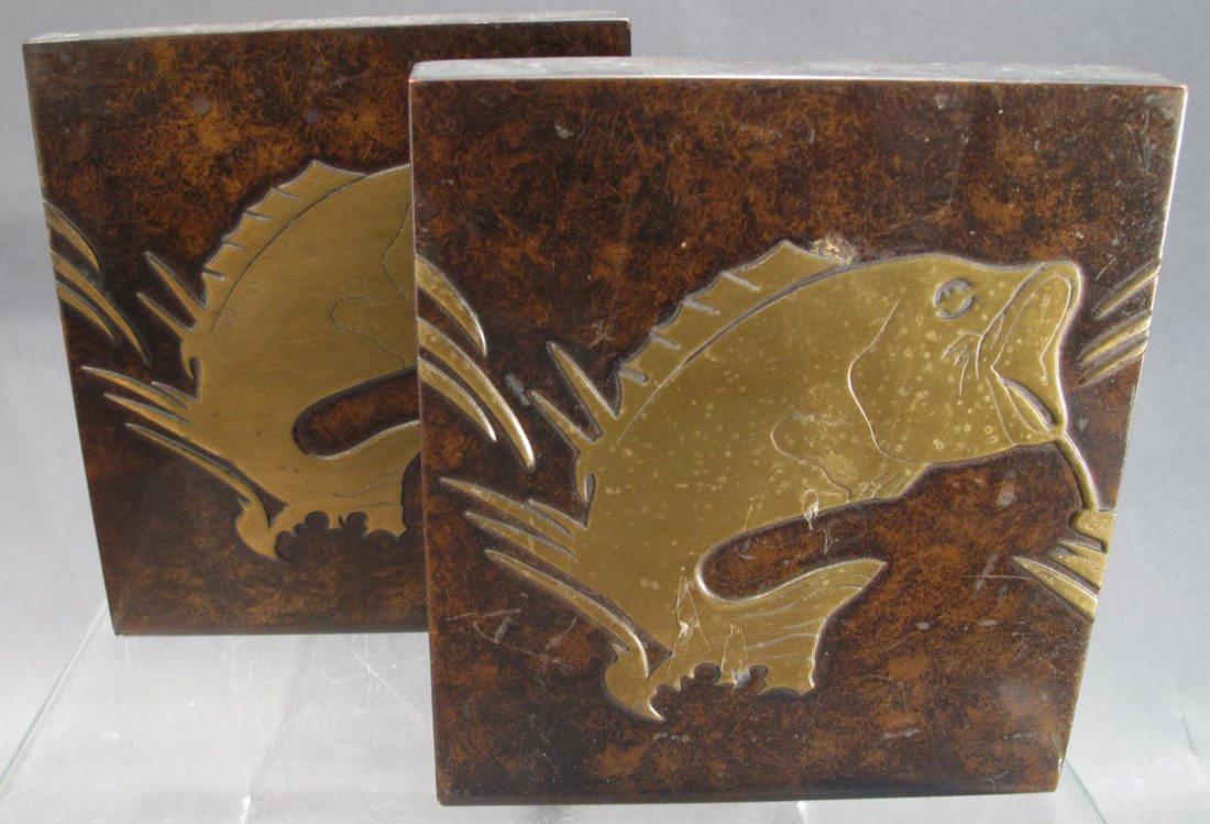 PAIR OF SILVERCREST LARGE MOUTH BASS BOOKENDS.