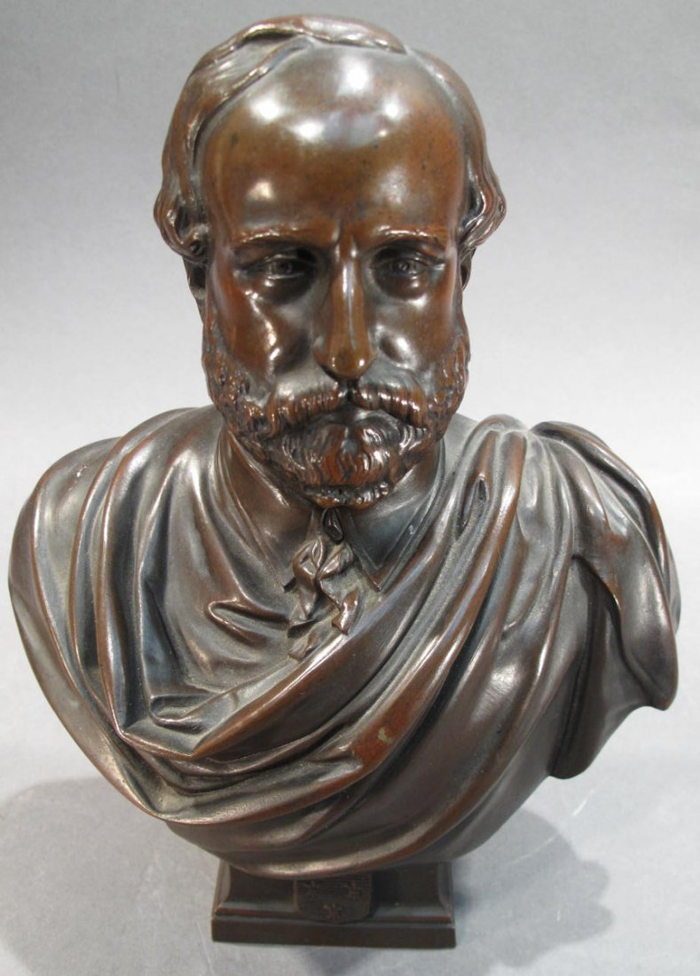 BRONZE BUST OF MALE SCHOLAR.  Stamped L. Veray 1872 on
