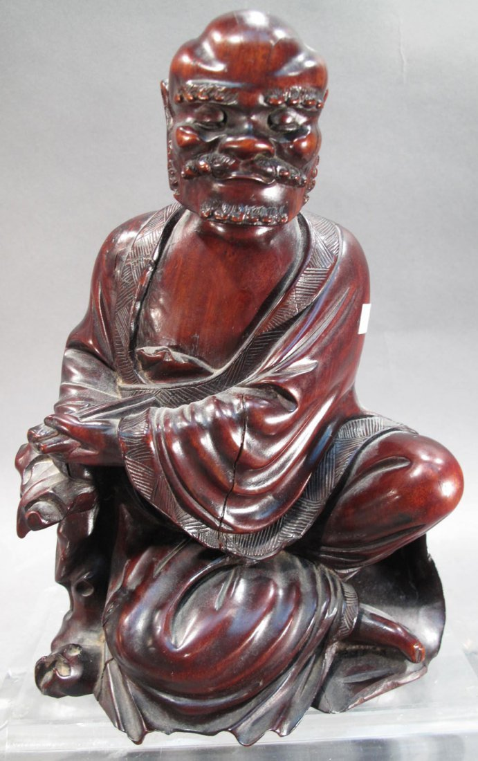 ASIAN WOOD CARVED FIGURINE.  Old man sitting