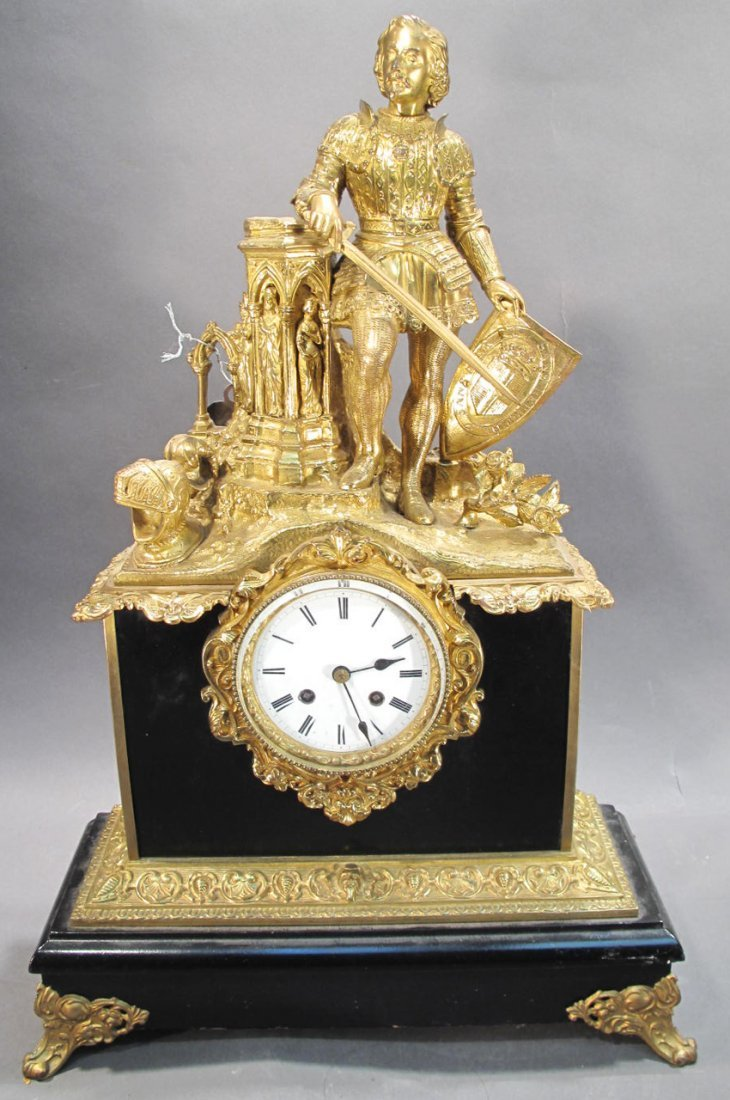 FRENCH MANTLE CLOCK.  Cavalier on top.