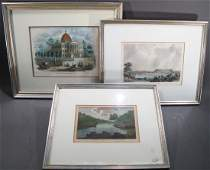 THREE NICE HAND COLORED ENGRAVINGS  A View of