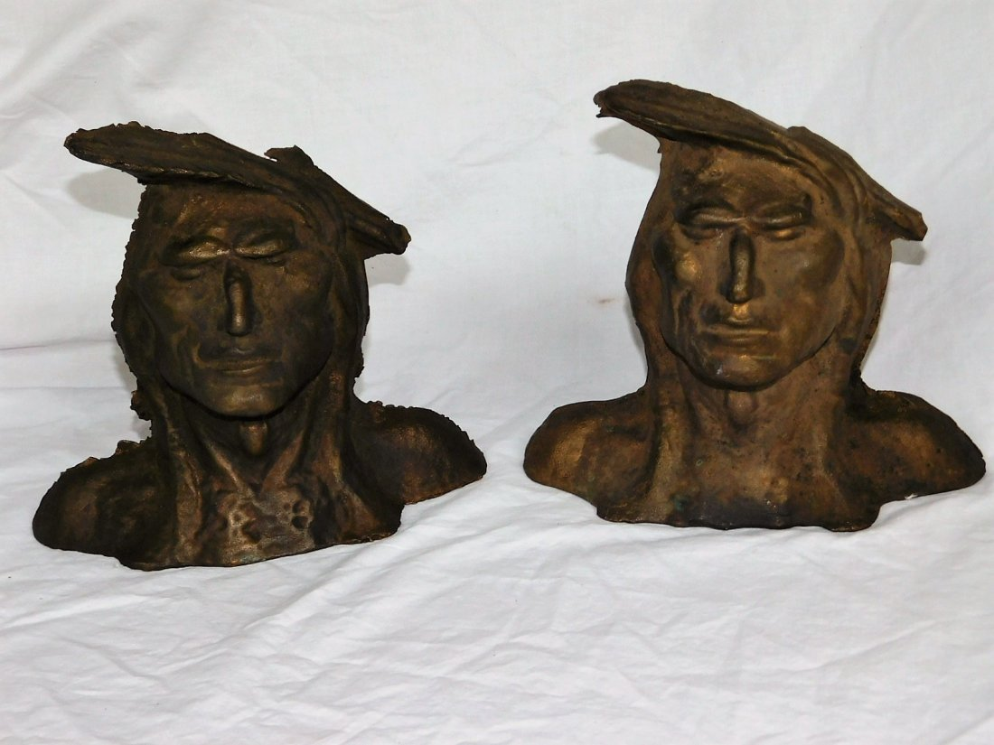 1930's Taylor & Doe Foundry Feather Chief Bookends