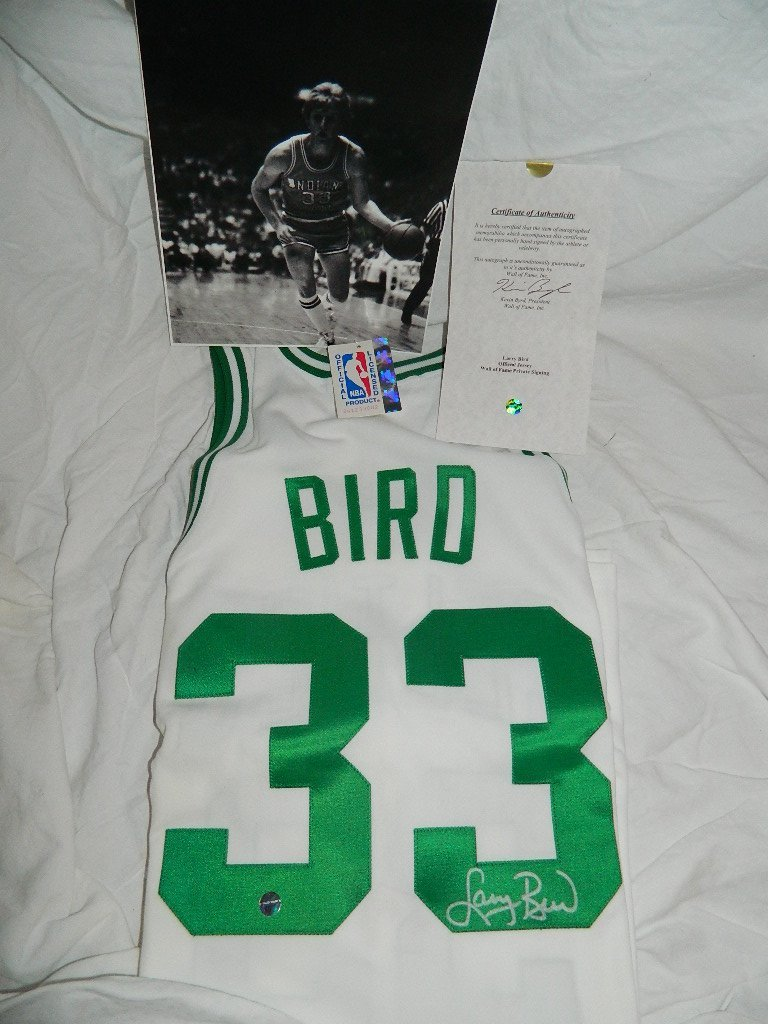 Larry Bird Signed Celtics Shirt & Photograph w/COA