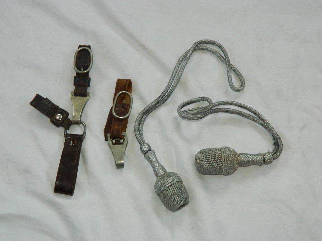 WWII German Silver Bullion Portepee & Leather Hangers