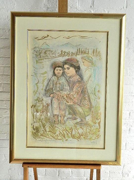 Edna Hibel Artist Proof & Pastels Woman & Children