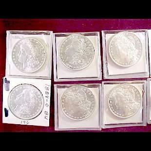 10 Morgan Silver Dollars - 1884 to 1900