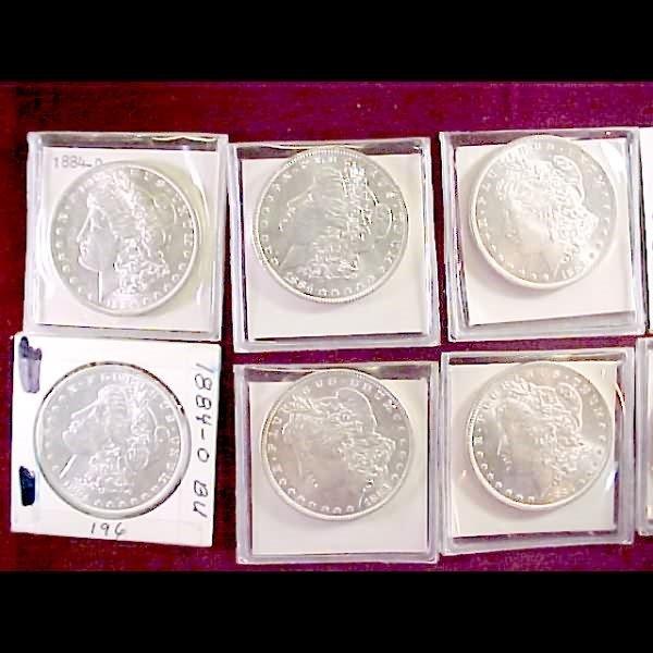 1: 10 Morgan Silver Dollars - 1884 to 1900