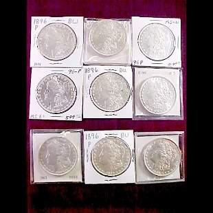 9 Morgan Silver Dollars - Dated 1896-P