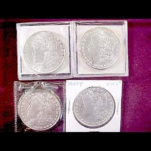 8 Morgan Silver Dollars - 1900-P and 1900-O