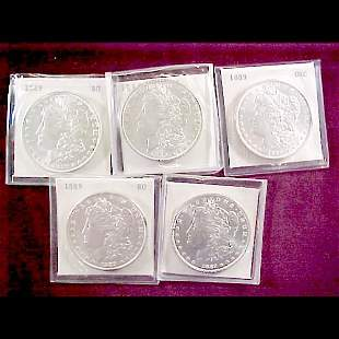 9 Morgan Silver Dollars - 1889-P