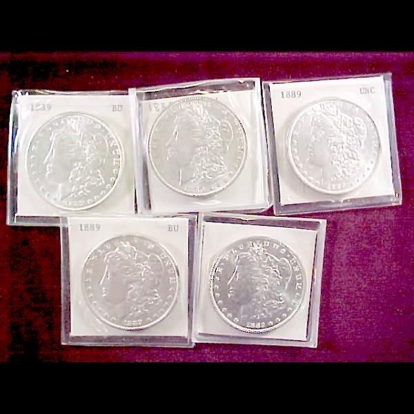 4: 9 Morgan Silver Dollars -  1889-P