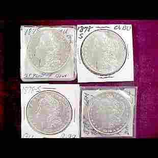 7 Morgan Silver Dollars - 1878-S and 1878-P