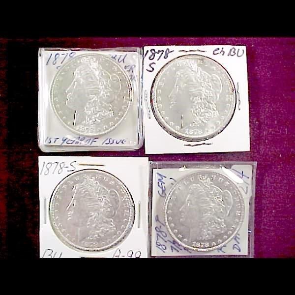 5: 7 Morgan Silver Dollars - 1878-S and 1878-P