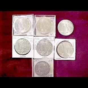 7 Peace Silver Dollars - 1926-D, 1926-S, 1926-P