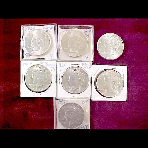 6: 7 Peace Silver Dollars - 1926-D, 1926-S, 1926-P
