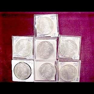 Seven (7) 1891 Morgan Silver Dollars