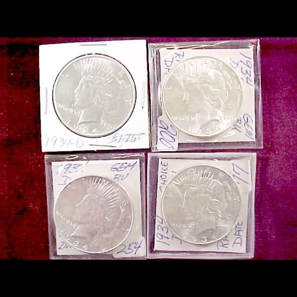 8: Four 1934 Peace Silver Dollars