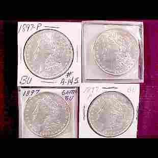 Eight 1897 Morgan Silver Dollars