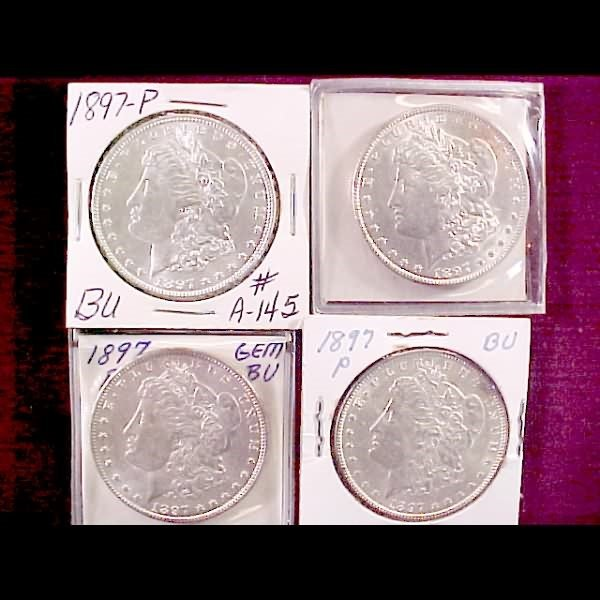 9: Eight 1897 Morgan Silver Dollars