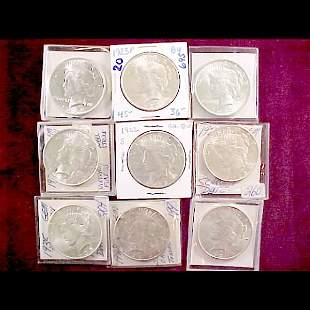 Nine (9) Peace Silver Dollars 1922-1935