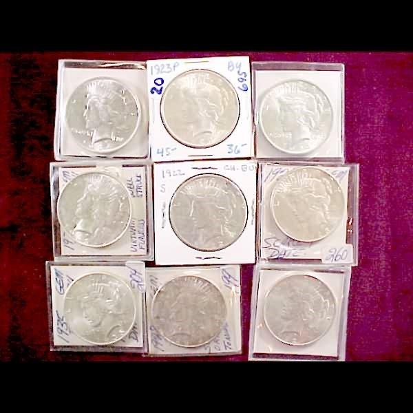 10: Nine (9) Peace Silver Dollars 1922-1935