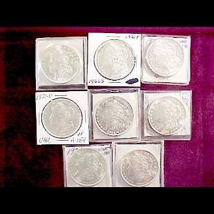 Eight (8) 1921 Morgan Silver Dollars