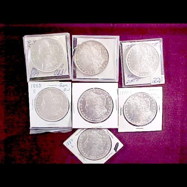 12: Seven (7) 1880 Morgan Silver Dollars