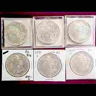 Six (6) 1881Morgan Silver Dollars