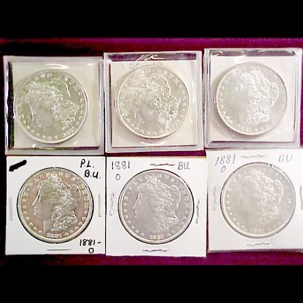 13: Six (6) 1881Morgan Silver Dollars