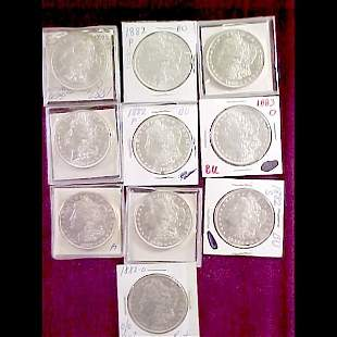 Ten (10) Morgan Silver Dollars - 1882 and 1883