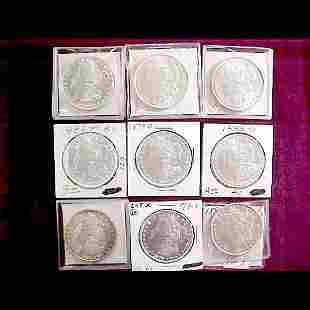 Nine (9) Morgan Silver Dollars