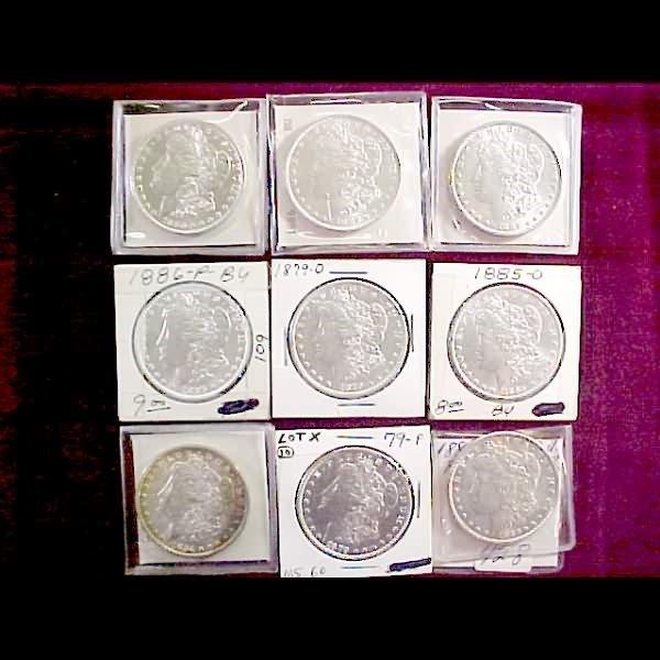 15: Nine (9) Morgan Silver Dollars