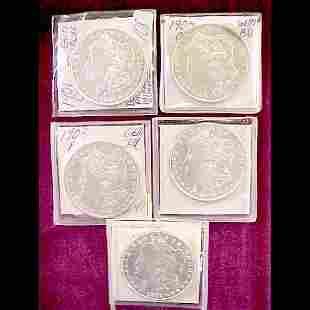 Five (5) Morgan Silver Dollars