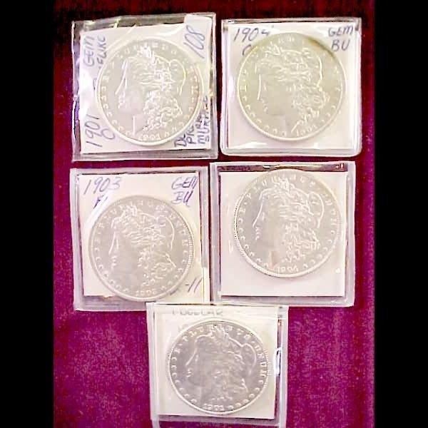 19: Five (5) Morgan Silver Dollars