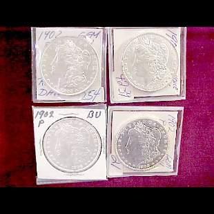 Four (4) 1902-P Morgan Silver Dollars