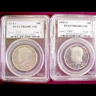 Two Slab Kennedy Half Dollars