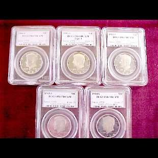 Five 1980s Slab Kennedy Half Dollars