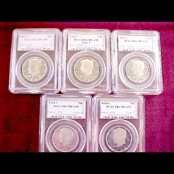 23: Five 1980s Slab Kennedy Half Dollars