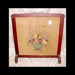 c.1910 Fire screen - Wood w/ needlepoint under gla