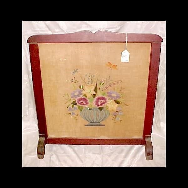 403: c.1910 Fire screen - Wood w/ needlepoint under gla