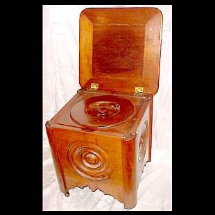 Oak Potty Chair with Chamber Pot
