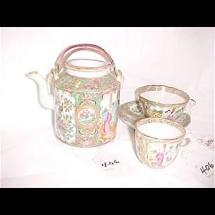 Rose Medallion Teapot, Cup & Saucer & Demitasse Cu