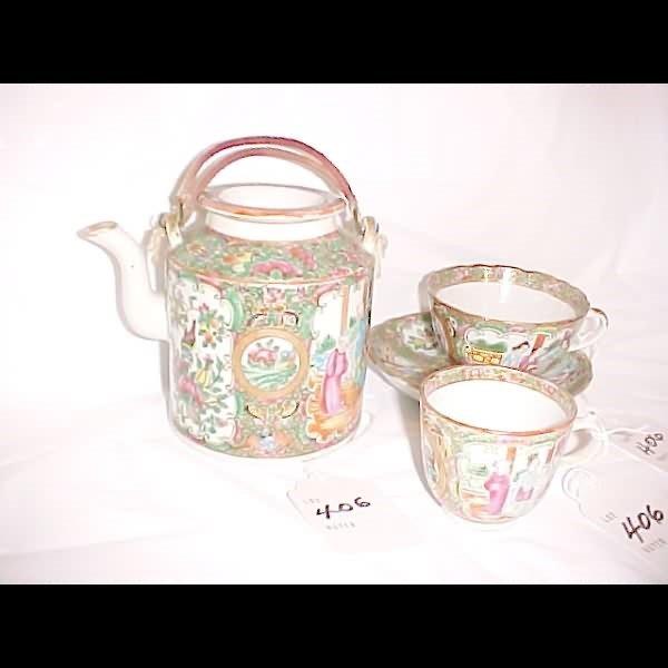 406: Rose Medallion Teapot, Cup & Saucer & Demitasse Cu