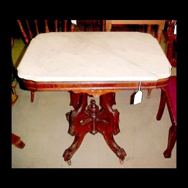 411: c.1875 Marble Top Walnut Table