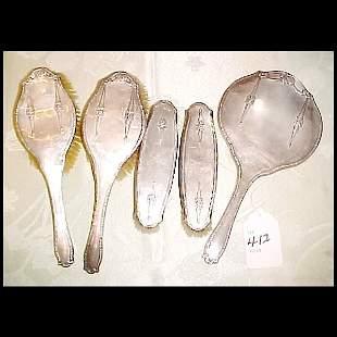 5 pc. English Sterling Silver Vanity Set