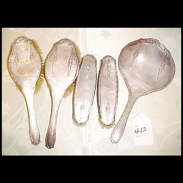 412: 5 pc. English Sterling Silver Vanity Set