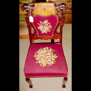 2 Roaring Lion Head Fireside Parlor Chairs